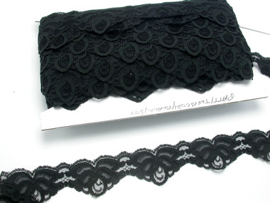 "Scalloped Raschel Lace 1 5/8"" (41mm) Soft Black 50 Yards"