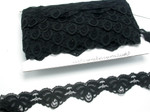 "Scalloped Raschel Lace 1 5/8"" (41mm) Soft Black 50 Yards"