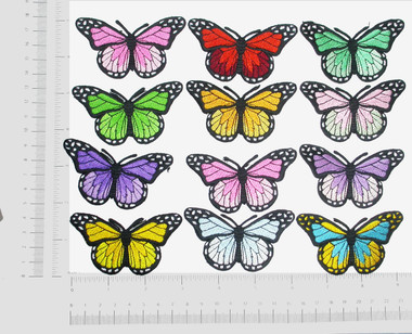 "Butterfly Monarch 1 7/8""  Iron On Patch Applique *Colors*"