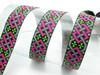 """Jacquard Ribbon 1"""" (25mm) Fortius 9 meters Pink & Green"""
