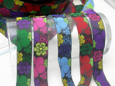 "Jacquard Ribbon 1"" (25mm) Flower Frenzy 9 meters"