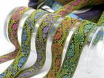 """Jacquard Ribbon 1"""" (25mm) Non Metallic Tudor Rosette"""