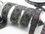 Celtic Jacquard Ribbon Long Link Design Multi Metallic  1 1/2""