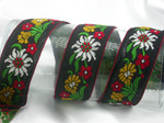 "Vintage Cotton Jacquard Ribbon 1 1/2"" (38mm) Edelweiss Priced Per Yard"