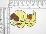"""Playful Puppy Dog  Iron On Patch Applique *colors*  Embroidered Fully  Measures 2 1/2"""" across x 2"""" high  (63mm x 51mm) approx"""