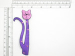"""Kitty Long Whimsical Purple Kitten Cat Embroidered Applique Embroidered on Purple Satin Measures 4 3/4"""" high x 2"""" wide approximately"""