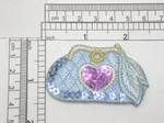 "Sequin Purse Pocket Book Cosmetic Bag Embroidered iron On patch  Embroidered On Blue Backing with Blue & Purple Sequins  Measures 1 1/2"" high x 2 1/2"" wide approximately"