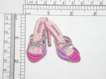 "Footwear High Heel Sandal Pink Iron On Patch Applique  Fully Embroidered with Rhinestone detail  Measures 2 1/8"" x 2 3/8"" Wide Approximately"