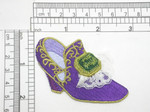 "Footwear Slipper Purple Iron On Patch Applique  Fully Embroidered with Lace Detailing  Measures 1 3/4"" x 3"" Wide Approximately"