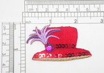 """Red Hat Lady Red Hat with Rhinestone Embroidered iron on Applique  Embroidered on Red Felt with Sequin Detailing  Measures 1 1/2"""" high x 2 1/2"""" wide approximately"""