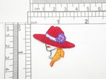 "Red Hat Lady with Floral Hat  Embroidered iron on Applique  Embroidered Fully  Measures 1 1/2"" high x 1 1/2"" wide approximately"