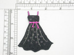 """Little Black Dress Iron On Patch Applique  Embroidered On Black Satin detailed with Black Sequins  Measures 2 7/8"""" x 2 3/8"""" Wide Approximately"""