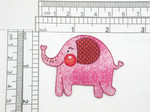 """Pink Elephant Rosy Cheek Patch Embroidered iron On Applique  Embroidered - Heat Seal backing Measures 1 3/4"""" high x 2 3/8"""" wide approximately"""