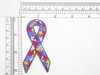 """Autism Awareness Ribbon 3"""" Iron On Embroidered Applique  Fully Embroidered  Measures 3"""" high x 1 5/8"""" wide approximately (71mm x 41mm)"""