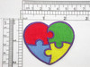 """Autism Awareness Heart 2"""" Iron On Embroidered Applique  Fully Embroidered  Measures 2"""" high x 2 3/8"""" wide approximately (50mm x 60mm)"""