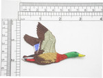 "Mallard Duck Flying Iron On Embroidered Applique 3 1/8"" x 2"" (80mm x 51mm) Fully Embroidered High Detail Applique"