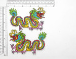 "Chinese Dragon Patch Left & Right Iron On Embroidered Appliques 4 3/4"" x 3 1/8"""