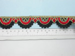 """Embroidered Saree Border Red & Black Scallop  35mm 1 3/8"""" wide Priced Per Yard  Iron On"""