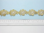 """Embroidered Saree Border Gold & Silver Flower Buds  35mm 1 3/8"""" wide Priced Per Yard  Iron On"""