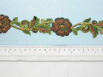 """Embroidered Flower Border Brown  35mm 1 3/8"""" wide Priced Per Yard  Iron On"""