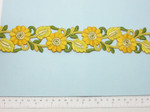 """Embroidered Daisy Border Yellow  48mm 1 7/8"""" wide Priced Per Yard  Iron On"""