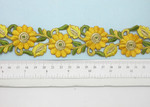 """Embroidered Daisy Border Yellow  38mm 1 1/2"""" wide Priced Per Yard  Iron On"""