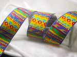 "Jacquard Ribbon 2"" Rainbow Beach Priced Per Yard  Brilliant Bright Colors in an abstract modern beach pattern"