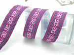 "Jacquard Ribbon 1 3/8"" Bright Pink White & Met Turquoise Swirl Priced per yard"