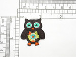 """Brown Retro Owl Embroidered iron on Applique  Fully Embroidered  Measures 1 1/4"""" x 1 1/8"""""""