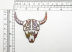 "Steer Skull South Western Style  Colorful Embroidered Applique  Fully Embroidered  Measures 2 5/8"" high x 2 3/4"" wide approximately"