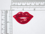 "Hot Lips Red Sequin Kiss  Patch Iron On  Applique   Embroidered & Sequins  Measures 1-3/4"" x 1-1/8""    (44mm x 28.6mm)"