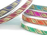 "Jacquard Ribbon 1"" Color Reverse Leaf  Priced Per 3 yards & Up"