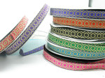 "Jacquard Ribbon 1"" Flower Facets  Priced Per 3 yards & Up  Woven Jacquard Ribbon with Metallic  8 colorways"