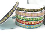 "Jacquard Ribbon 1"" Diamond Daisy  Priced Per 3 yards & Up      Woven Jacquard Ribbon with Metallic  6 colorways"