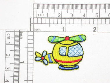 "Helicopter Colorful Iron on Embroidered Applique  Measures 1 5/8"" across x 1 1/8"" tall"