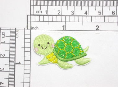 "Sea Turtle Patch Iron On Embroidered Applique 1 5/8"" x 1 1/8""  Embroidered on White Sateen Backing  Measures 1 5/8"" x 1 1/8"" approximately"