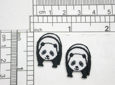 "2 x Mini Panda Patch Iron On Embroidered Applique  Fully Embroidered  Measures 11/16"" x 15/16""  (17mm x 24mm)"