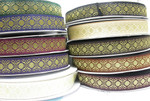 "Jacquard Ribbon Tzia 1 5/16"" (34mm) Metallic Gold Priced Per Yard  100% Polyester & Metallic    10 Colorways"