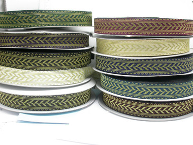 "Jacquard Ribbon French Plait 1 5/16"" (34mm) Metallic Gold Priced Per Yard"