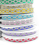 "Jacquard Ribbon 1"" Dot Diamonds Priced Per 3 yards & Up"