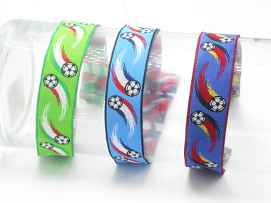 "Jacquard Ribbon 1"" (25mm) Soccer Football  Priced Per Yard Color Options"