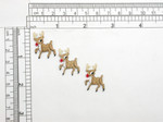 "3 x Rudolph Reindeer Mini Iron On Patch Appliques Fully Embroidered  Measures 1"" wide x 1"" high (25mm X 25mm)"