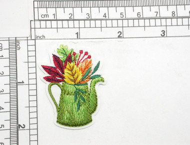 "Watering Can with Fall Leaves Embroidered Iron On Patch Applique  Measures 2"" tall x 1 5/8"" wide (50mm x 41mm)"