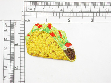 """Taco  Iron On Patch Applique  Fully Embroidered  Measures 1 5/8"""" tall x 2 1/4"""" wide"""