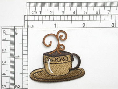 "Coffee Cup Iron On Patch Applique  Embroidered Fully Measures 1 3/4"" high x 1 7/8"" wide approximately"