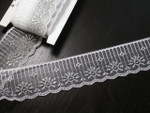 "Polyester Lace 2"" (50mm) White & Metallic Silver Candlewick design 15 Yards"