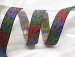 "Jacquard Ribbon 1"" (25mm) Black & Multi Flame Priced Per Yard"