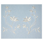 Pair White Embroidered Left Right  Floral Spray Appliques Fully Embroidered & Iron On