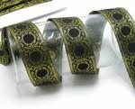"Jacquard Ribbon 1 1/2"" Black & Metallic Gold Priced Per Yard"