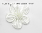 "White Satin Ribbon Beaded Flower 2 1/2"" (63.5mm) Per Piece"